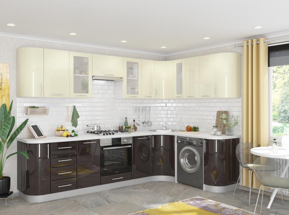 Кухня угловая Танго модульная шоколад-белый